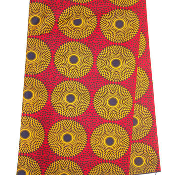African wax Print  cotton Fabric. Record Yellow red  by the yard, for African Print dress, African Clothing Dutch Wax Ankara fabric by yard