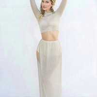 Silver Lining Pleated Sheer Metallic Two Piece Set