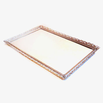 Vintage Mirror Tray, Rectangle Brass Vanity Display