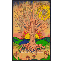 Twin Red Desert Tree of Life Tapestry Hippie Wall Hanging Cotton Bedspread on RoyalFurnish.com