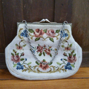 Vintage Creme and Roses Needlepoint Purse Handbag Retro Glam Style