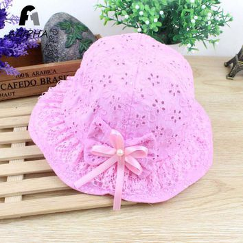 Flowers Pattern Bucket Hats Caps For Girls Baby Cotton Solid Summer Hat Kids Breathable Design Sun Cap Pink Color 2018