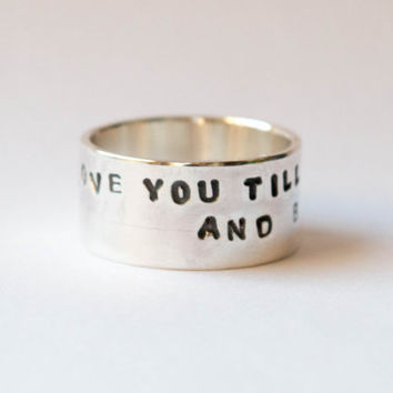 Personalized ring ,Personalized quote ,Personalized jewelry ,Personalized Hand Stamped Ring,Statement ring, Sterling wide band ring