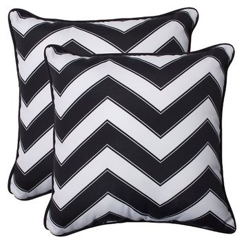 Pillow Perfect™ Chevron Outdoor 2-Piece Square Throw Pillow Set - Black