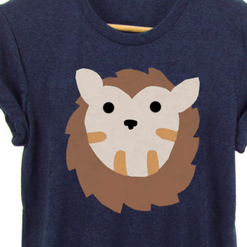 Geo Hedgehog Tee - Boyfriend Fit Crew Neck T-shirt with Rolled Cuffs in Heather Navy and Brown - Women's Size S-4XL