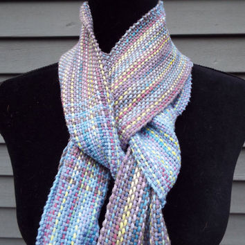 Blue Cotton scarf with long stripes of color, extra long scarf, lightweight cotton, ladies fashion scarf, handwoven accessories, weaving