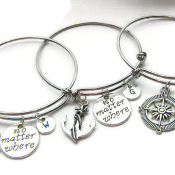 3 Best Friends Bracelets, Best Friends Bangles, No Matter Where, Anchor Compass Rudder, Friends Bracelets,Sisters Bracelets,BFF,Personalized