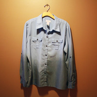 Dipped dyed black ombre pale blue blouse