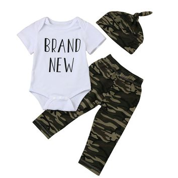 Camouflage Newborn Baby Boys Clothes 2017 Autumn Brand New Short Sleeve Romper Tops+Long Pant+Hat 3PCS Outfit Clothing Set