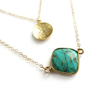 Turquoise Necklace, Delicate Gold Layer Necklace, Turquoise Pendant, Dainty Gold Necklace, Everyday Gold Necklace, 14k Gold, Thin Gold Chain