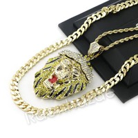 "ICED OUT BIG KING LION CHARM ROPE CHAIN DIAMOND CUT 30"" CUBAN CHAIN NECKLACE 54"
