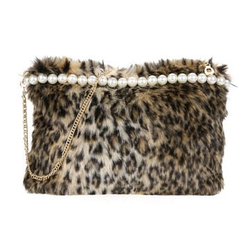New Artificial Conny Wool Women Bag Handbag Ladies Shoulder Bag Women Messenge Bags Leopard Fur Shoulder Bag Clutch SN9