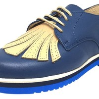 Luccini Boy's and Girl's Navy & Tan Leather Lace Up Stitched Fringe Foam Bottom Oxford Loafer Shoe