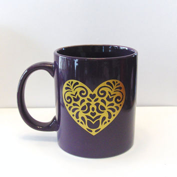 Decorated Coffee Mug With Heart Design - Heart - Fun Mug - Kitchen and Dining - Home and Living - Drink and Barware - Mug - Cup - Coffee Mug