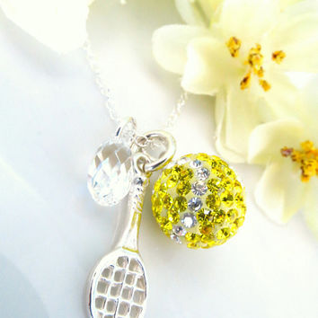 Tennis ball Swarovski crystal sterling silver tennis racket charm with clear AB Swarovski crystal, tennis racket silver necklace