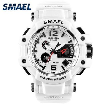 SMAEL Men Watches White Sport  LED Digital  Watch