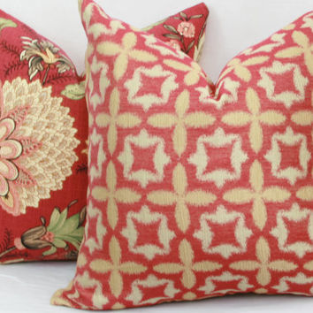 "Red & gold pillow cover.  Waverly Stardust jacquard decorative pillow cover. 18"" x 18"" toss pillow cover."