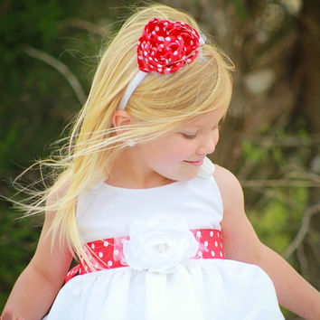 Flower Girl Polka Dot Flower Headband MIA  Red & White Polka Dot Fabric Flower Headband  Pearls Tulle