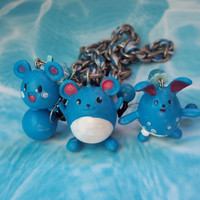 Upcycled Azurill, Marill and Azumarill Pokemon Necklace and Earring Set