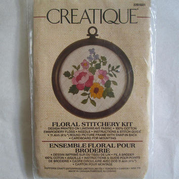 Vintage 1970s Crewel Embroidery Kit NOS Floral Crewel Stitchery Embroidery Kit w-Frame-Creatique 2201681