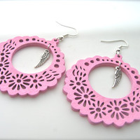 Wooden Earrings, pink Earrings, Hoop Earrings. Bright Earrings. Flower Floral,feathers earrings