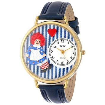 SheilaShrubs.com: Unisex Raggedy Ann Navy Blue Leather Watch G-0220003 by Whimsical Watches: Watches