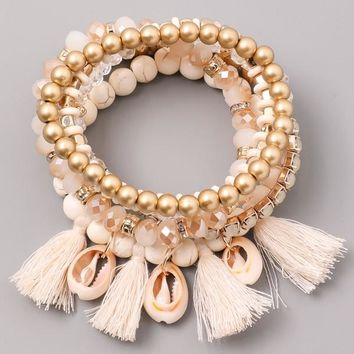 Honolulu Shell Bracelet Set - Beige