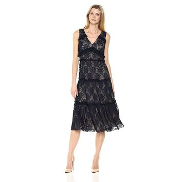 Maggy London Pleat Medallion Lace Tiered Cocktail Dress, Size 8