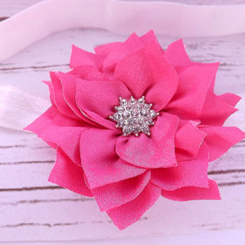 Pink flower headband - rhinestone flower headband, flower hair accessories, new born headband, toddler headband, photo prop, UK seller
