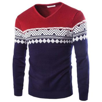 Fashion Design Korean Style High Quality Male Wool Jacquard Sweater Men's Warm Pullover Sweater 3Color M-3XL