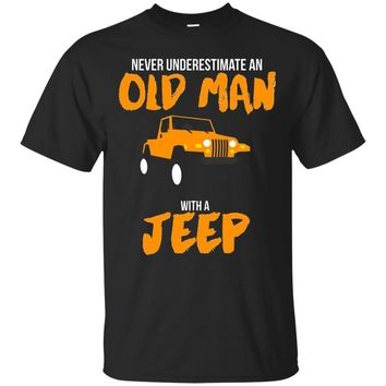 Men's Never Underestimate An Old Man With A Jeep Road Trip T-shirt