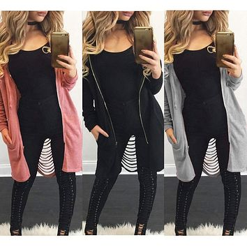 2018 New Casual Fashion Women Cut-Out Back Hooded Hoodie Midi Long Trench Coat Zip Up Tops CH