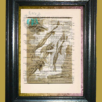 Da Vinci Anatomy of a Human Arm -- Vintage Dictionary Book Page Art - Upcycled Page Art - Collage Mixed Media Art