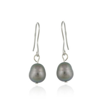 Sterling Silver Baroque Freshwater Cultured Grey Pearl Earrings