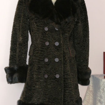 60s Vintage Faux Fur, Crushed Brown faux fur, Country Pacer Coat