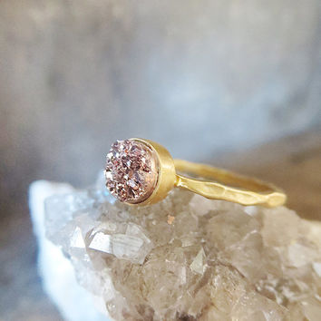 Rose Gold Druzy Ring, Petite stacking ring, 24k Gold Vermeil Ring, Glitter Everyday Ring, Small Stacking Ring, Druzy Stacking Ring
