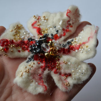 Felted Woolen Flower Brooch Pin Embroidered White Red and Golden Beads, Floral Corsage Pin, Felt Brooch,Felted Wool Flower,Handmade Art Pin
