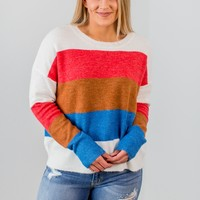 Spice Things Up Sweater-Coral/Blue(S-3X)
