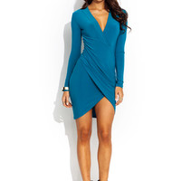 Surplice Faux Wrap Dress GoJane.com