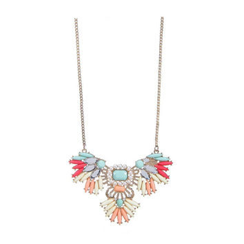 Multicolor Rhinestones Long Necklace