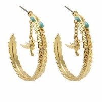Wildfox Couture Jewelry Bird Charm with Enamel Stones Earrings in Gold