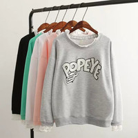 """""""POPEYE"""" Embroidery Lace Neck Pullover Sweatshirt"""