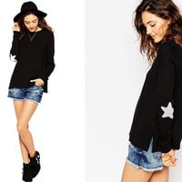 Star Elbow Applique Side Splits Sweater in Black