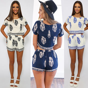 Leaves Of Printing Crop Top With Shorts Suits [6221370052]