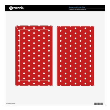 white_polka_dot_red_background pattern retro style kindle fire skin