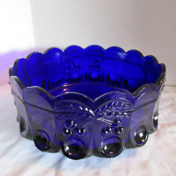 Westmoreland round fruit bowl, cobalt blue with cherry pattern, scalloped edge pressed glass, footed