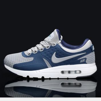 Nike Air Max Casual Sports Shoes Suitable for men and women Sneakers (navy blue gray hook) H-MDTY-SHINING