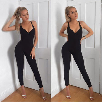 Jumpsuit Womens Romper Sexy Female Casual Streetwear 2016 Summer  New Arrival  One piece Slim Bodycon long Jumpsuits Overalls