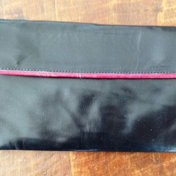 Handmade Black Leather Women Clutch Bag Purse Wallet 11 in X 5 in