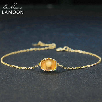 LAMOON 7x8mm 100% Natural Oval Citrine 925 Sterling Silver Jewelry 14K Yellow Gold Chain Charm Bracelet S925 LMHI046
